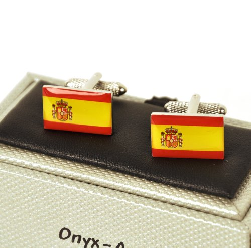 Onyx Art Cufflinks - Spain - Spanish Flag (Bandera Española) ()