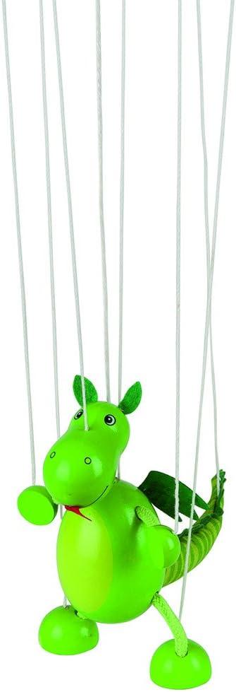 Goki-51754 Marioneta Dinosaurio de Madera, Color Verde (51754)