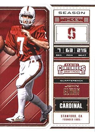 new product ec0d8 807cc 2018 Panini Contenders Draft Picks Season Ticket #53 John Elway Stanford  Cardinal Football Card