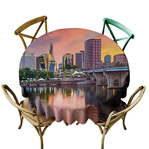 Zmlove United States Protective Round Tablecloth Water Reflection in Evening Urban City Hartford Connecticut Tranquil Sunset Indoor/Outdoor Multicolor (Round - 35