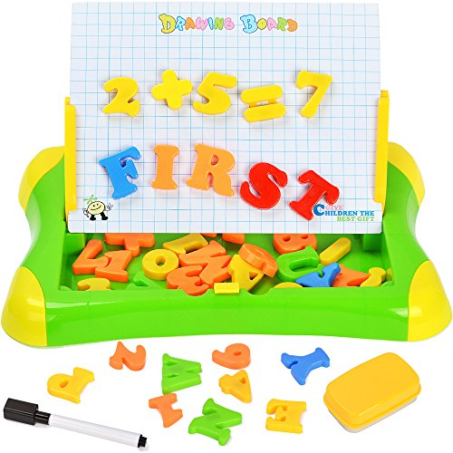 7TECH 2 in 1 Magnetic Drawing and Writing Board with Letters Number Sketchpad Learning Case for Kids Early Education Green (Case Education)