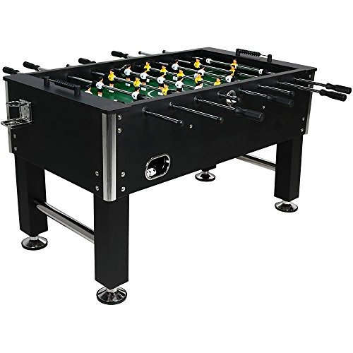 Action Foosball Soccer Table (Sunnydaze Decor Foosball Table Soccer Game with Drink Holders, 55 Inch)