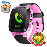 GBD GPS Tracker Kids Smart Watch for Children Girls Boys Holiday Birthday Gifts with Camera SIM Calls Anti-lost SOS Smartwatch Bracelet for iPhone Android Smartphone (PinkBlack) Reviews