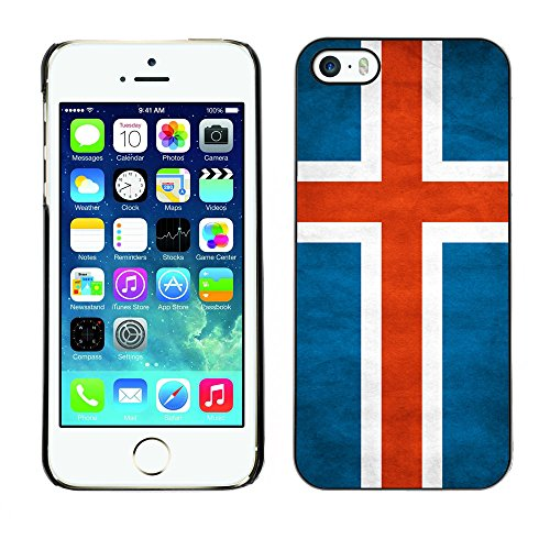 Omega Case PC Polycarbonate Cas Coque Drapeau - Apple iPhone 5 / 5S ( Iceland Grunge Flag )