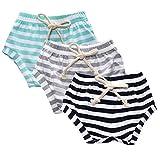 Kids Tales 3-Pack Summer Baby Boys Girls Striped Shorts Bloomers Green, Grey, Dark Blue 90(2T)