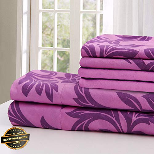 Florance Jones Kendall Printed 1800 Series Egyptian Comfort Bed Sheets Set 6 Piece Multi Colors   Collection Sheet Set SHSTHR-122022316   King ()