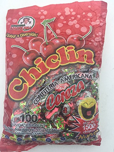 Chilclin Cherry Mints Tutti-Frutti Bubble Gum Filled Cherry Hard Candy From El Salvador Menta Relleno De Chicle Sabor Cereza- 17,64oz/ bag 100pcs