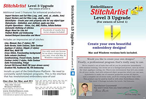 Embrilliance StitchArtist Upgrade Level 1 to Level 3 Digitizing Embroidery Software for MAC & PC