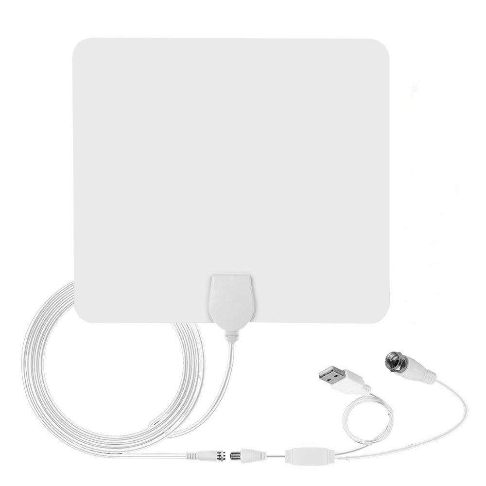 elecfan HDTV Antenna, 80 Miles Long Range Indoor Digital HDTV Antenna 25dB Amplifier Signal Booster 4K HD 1080P VHF(172-240Mhz) UHF(470-860Mhz) - 002 by elecfan
