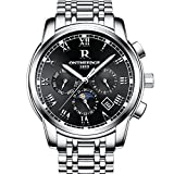 Mens Swiss Automatic movement Watches,Stainless Steel Waterproof Wrist Watch (blacksilver)