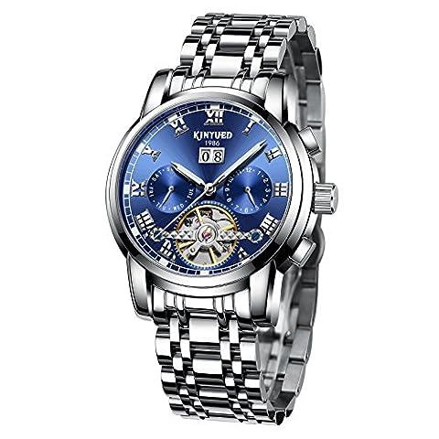 Swiss Men's Stainless Steel Blue Tourbillon Automatic Mechanical Watch (Swiss Mechanical Automatic)