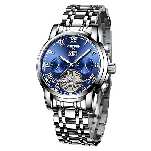 KINYUED Men's Fashion Tourbillon Automatic Movement Mechanical Wrist Watches Classic Day Date Calendar Silver Stainless Steel Band with Blue - Mens Watch Fancy Band