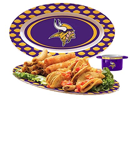 Party Platter With Chip Dip Bowl Minnesota Vikings NFL Gameday Gift Set