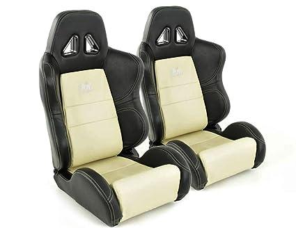 Par de asientos deportivos ergonómicos de piel artificial ...
