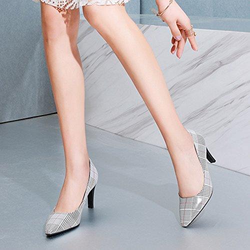 Dkfjki Stiletter Hvid Vilde Temperament Høje Kvinde Hæle Læder Skotskternet Hæle Pumper wwaAPTFq