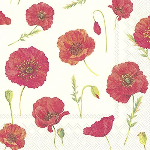 POLLY cream Red Poppies IHR Paper Lunch Napkins 20 in pack 3 ply 33 cm square