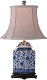 East Enterprises LPDBWN0810M Oval Table Lamp - Blue and White ...