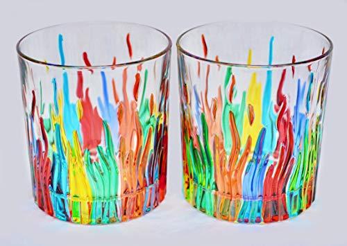 My Italian Decor Authentic Murano Highball Glasses, Fire, Set of 2 (Glass Hand Painted Highball)