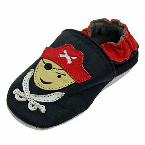 Lappa.de - Zapatillas de estar por casa de cuero para niño multicolor Negro
