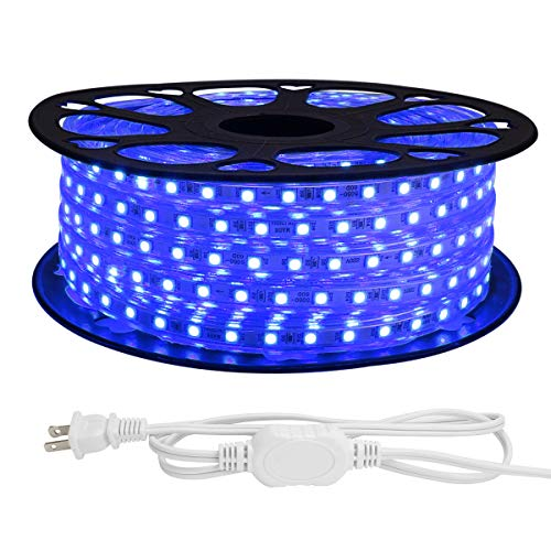 LE 82ft LED Strip Lights, 120 volt, 189W 1500 SMD 5050 LEDs, Waterproof, Flexible, Blue, ETL Listed, Plug in, Indoor Outdoor LED Rope Light for Kitchen, Ceiling, Patio, Under Cabinet Lighting and More