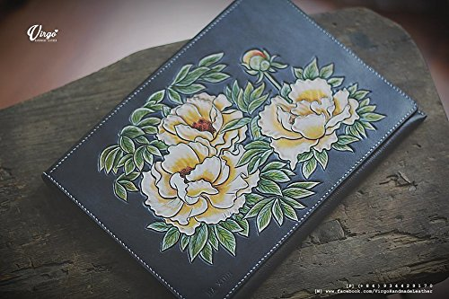 Peonies hand tooled/ hand carved wallet for women by Virgo Handmade Leather