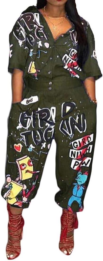 Bravepe Womens Short Sleeve Loose Jumper Harem Jumpsuit Floral Print Jumpsuit Romper