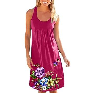 Amazon.com : Showking@ Womens O-Neck Sleeveless Flower Printing Mini Dress Casual Boho Style Tunic T-Shirt Dresses (L, Hot Pink) : Beauty