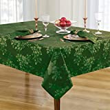Poinsettia Holiday Metallic Damask Fabric Christmas Tablecloth - 60 x 120 Inch Oblong, Hunter/Gold