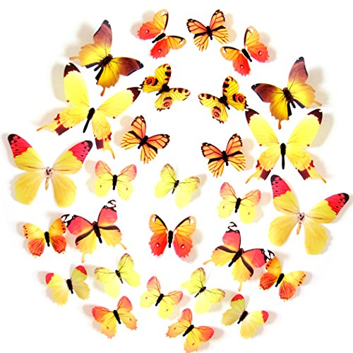 FLY SPRAY 24pcs Vivid Yellow Butterfly Mural Decor Removable Wall Stickers with Adhesive Decals Nursery Decoration 3D Crafts ()