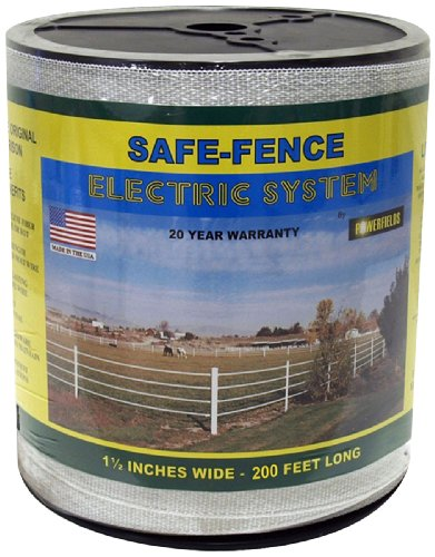 Powerfields K-3 Safe-Fence, Electric Fence Poly Tape, 200-Feet Roll, 1.5-Inch Wide, White ()