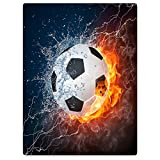 HommomH 60'' x 80'' Blanket Comfort Cozy Soft Warm Throw One Sides Soccer Flame Fire