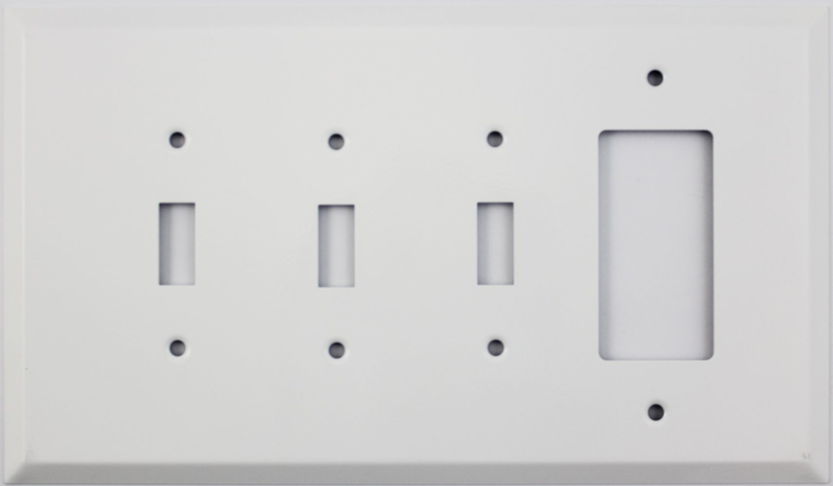Oversized Smooth White Jumbo 4 Gang Combo Switch Plate - 3 Toggle Light Switch Openings 1 GFI Outlet/Rocker Switch Opening