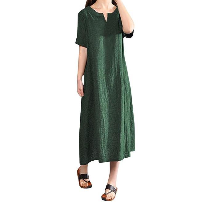 STRIR Vestido Boho Mujer Vintage Split Dobladillo Casual Boho Corta Flojo Vestido Largo (S,