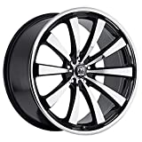 Motiv Majestic 22 Machined Black Wheel / Rim 5x4.5 & 5x120 with a 38mm Offset and a 74.10 Hub Bore. Partnumber 407MB-2295738