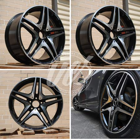 NEW 20 Inch x 8.5 Wheels Rims CL63 AMG Double Spokes Style 5 lug Black Machined Face compatible with Mercedes Benz C CLASS C300 C250 C350 C400 Set of 4 (Amg Rims 20)