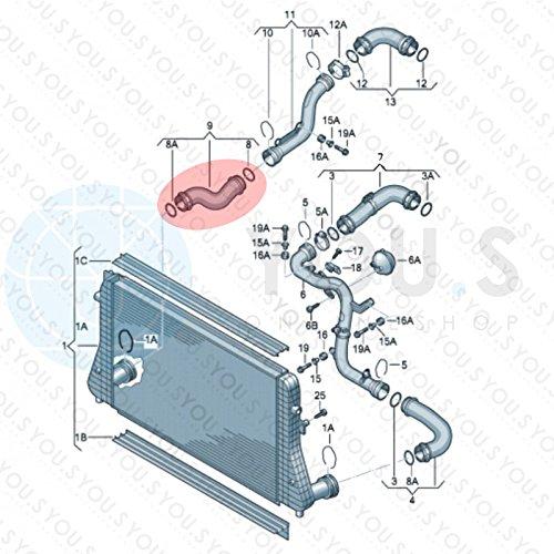 3C0145832D 1.9 // 2.0 TDI YOU.S Ladeluftschlauch für VW TOURAN 1T1, 1T2 NEU