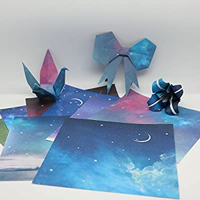 DadaCrafts(TM) 48 Sheets Origami Paper 6-Inch by 6-Inch in 8 Different Moon And Starry Sky Patterns and 2 Scratch Off Stickers