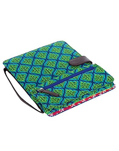 rajrang-luxurious-ipad-case-emerald-green-leaves-printed-cotton-bag-for-womens