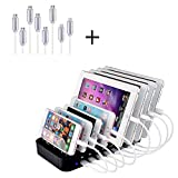 Evfun Charging Station USB 8 Port Multi Device Charger Dock Universal for Cell Phone Tablet and Android Devices