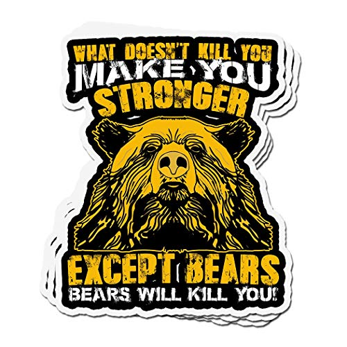 shopdoz 3 PCs Stickers What Doesnt Kill You Makes You Stronger Except Bears 4 × 3 Inch Die-Cut Wall Decals for Laptop Window