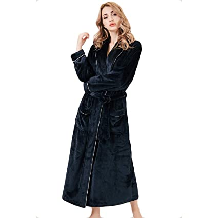 HGDR Flannel Dressing Gown Bathrobe For Women Ladies Full Length Fleece Soft  Warm Nightgown Sleepwaer Shawl Collar Bath Robe Nightdress 0f7f1ecd6