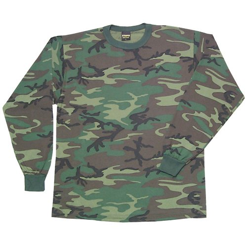 Fox Outdoor Products Long Sleeve T-Shirt, Woodland Camo, Small