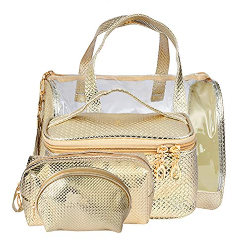 STRIPES Travel Cosmetic Bag – 4 in 1-Set Makeup and Toiletries Bag for Travelers, Clear Vanity Pouch Organizer with…