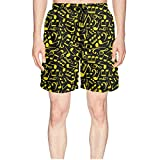 Elxie06 Music Note Notation Mens Quick Dry Breathable Beach Shorts with Drawstring