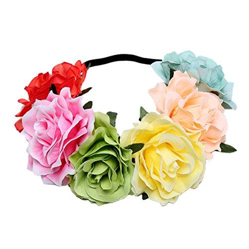 (Lujuny Big Rose Flower Crown Headband - Floral Garland for Baby Shower Wedding Birthday Party Beach Photoshoot (Rainbow 1))