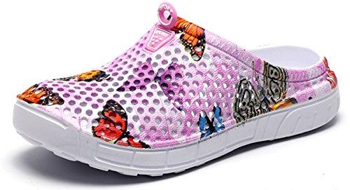 Eagsouni Unisex Men Women Garden Clogs Shoes Casual Slippers Summer Quick Drying Anti-Slip Beach Walking Sandals Pink B