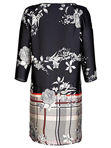 Fließend und mit by aus Schwarz Mix Alba Damen Einem Moda Karo Kleid Blumendruck PqYYvwt68