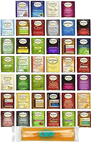 Twinings Assorted Tea Bags Variety Pack - 40 ct Hot Tea Sampler: Chamomile, Chai, Black, Herbal, Rooibos, Green, Earl Grey English Breakfast, Organic with By The Cup Honey Sticks