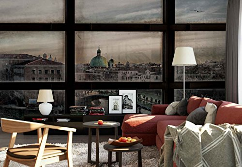Photo wallpaper wall mural - Window View Bridge Canal People Town - Theme Travel & Maps - L - 8ft 4in x 6ft (WxH) - 2 Pieces - Printed on 130gsm Non-Woven Paper - 1X-807086V4 by Fotowalls Photo Wallpaper Murals