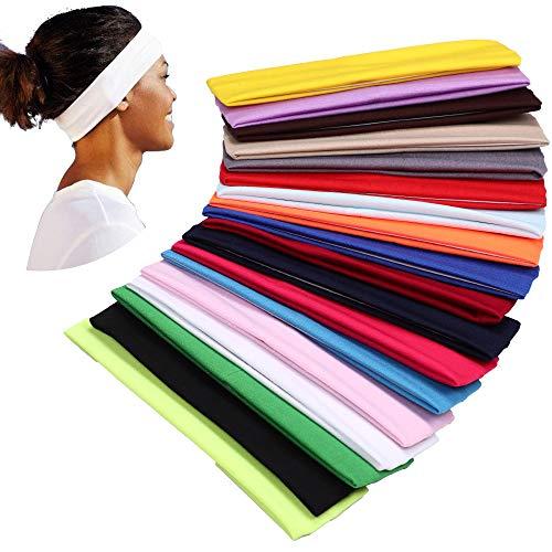 🥇 YMHPRIDE 18 piezas diadema de yoga deportivo banda elástica banda para el cabello para niñas damas